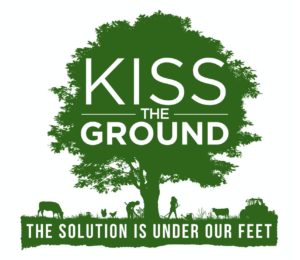 """green tree with white words """"kiss the ground"""" and then """"the solution is under our feet"""""""